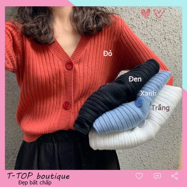 Cardigan len cổ V tay dài, áo len thu đông nhiều màu, áo len nữ dáng ngắn mẫu mới 2020