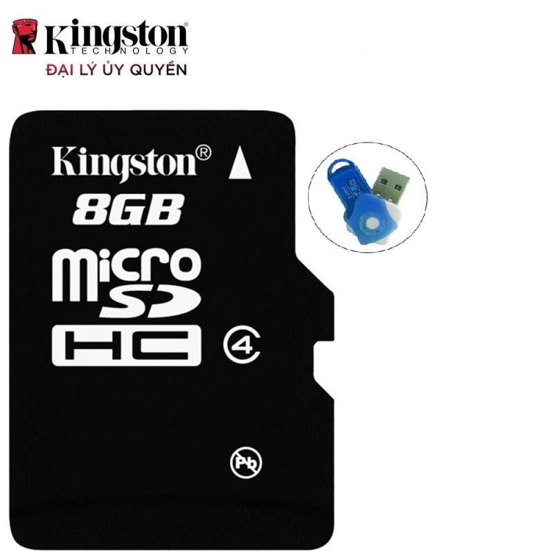 Bộ 3 Thẻ nhớ Kingston Micro SDHC Class4 8GB (Đen) Hàng tray + Hộp nhựa Tặng 1 đầu đọc thẻ nhớ (Mẫu ngẫu nhiên)
