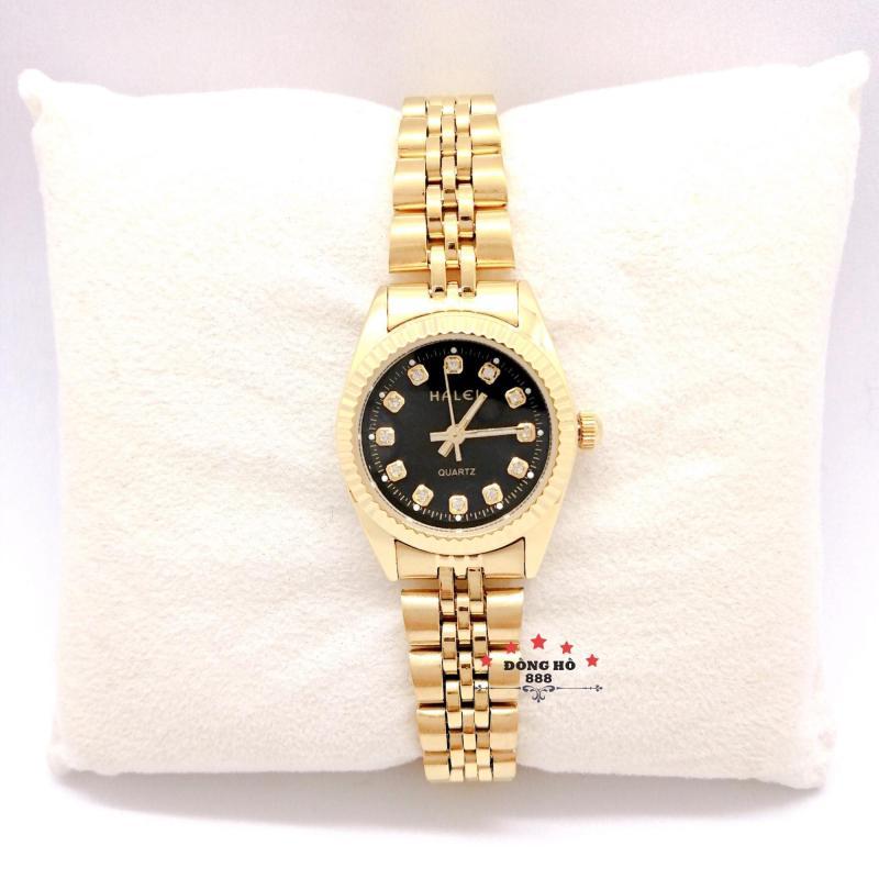 Đồng hồ nữ HALEI dây kim loại thời thượng ( HL356 dây vàng mặt đen ) - TẶNG 1 vòng tỳ hưu phong thuỷ