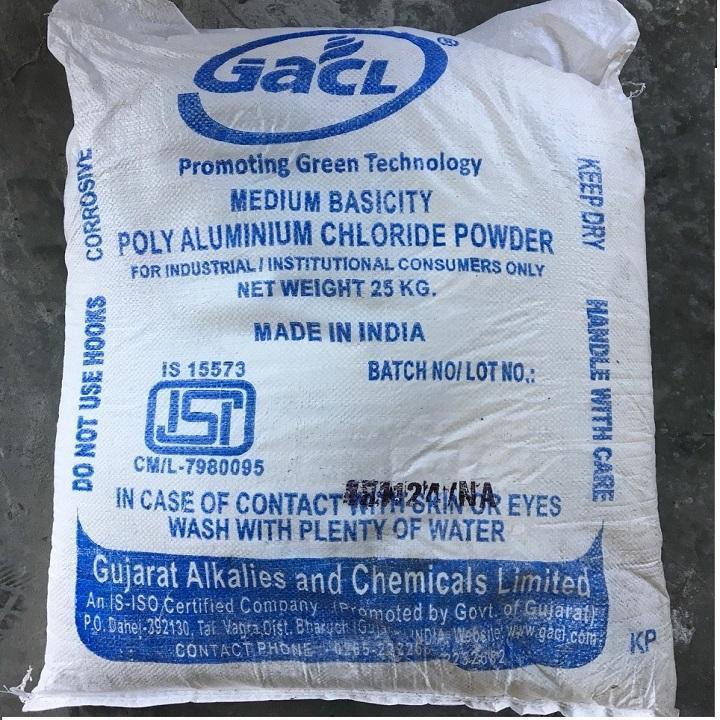 Hóa chất trợ lắng nước bể bơi Bao 25Kg - Bao 25Kg Trợ lắng PAC Ấn Độ màu trắng