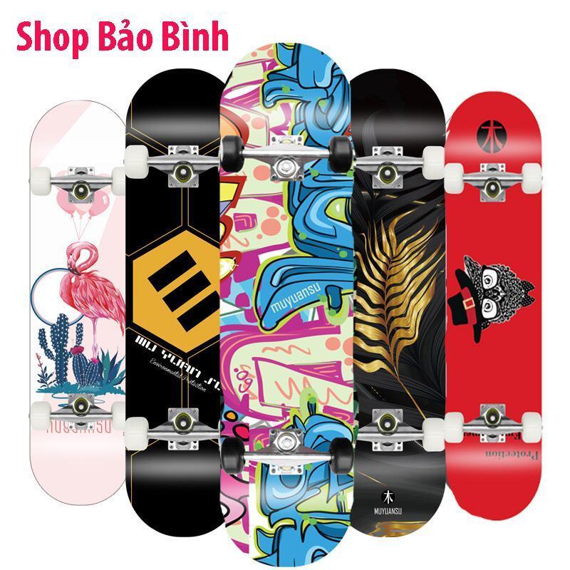Ván trượt skateboard thể thao chất liệu gỗ phong ép cao cấp 8 lớp mặt nhám