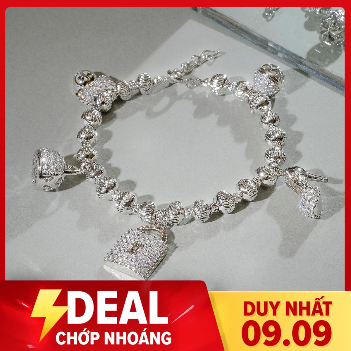 [HCM]Vòng charm bạc Ý mạ vàng thật 18K kiểu dáng Hàn Quốc đính đá Zircon sang trọng vòng tay nữ lắc tay bạcvong tay nu trang sức bạ cao cấp vòng tay Hàn Quốc