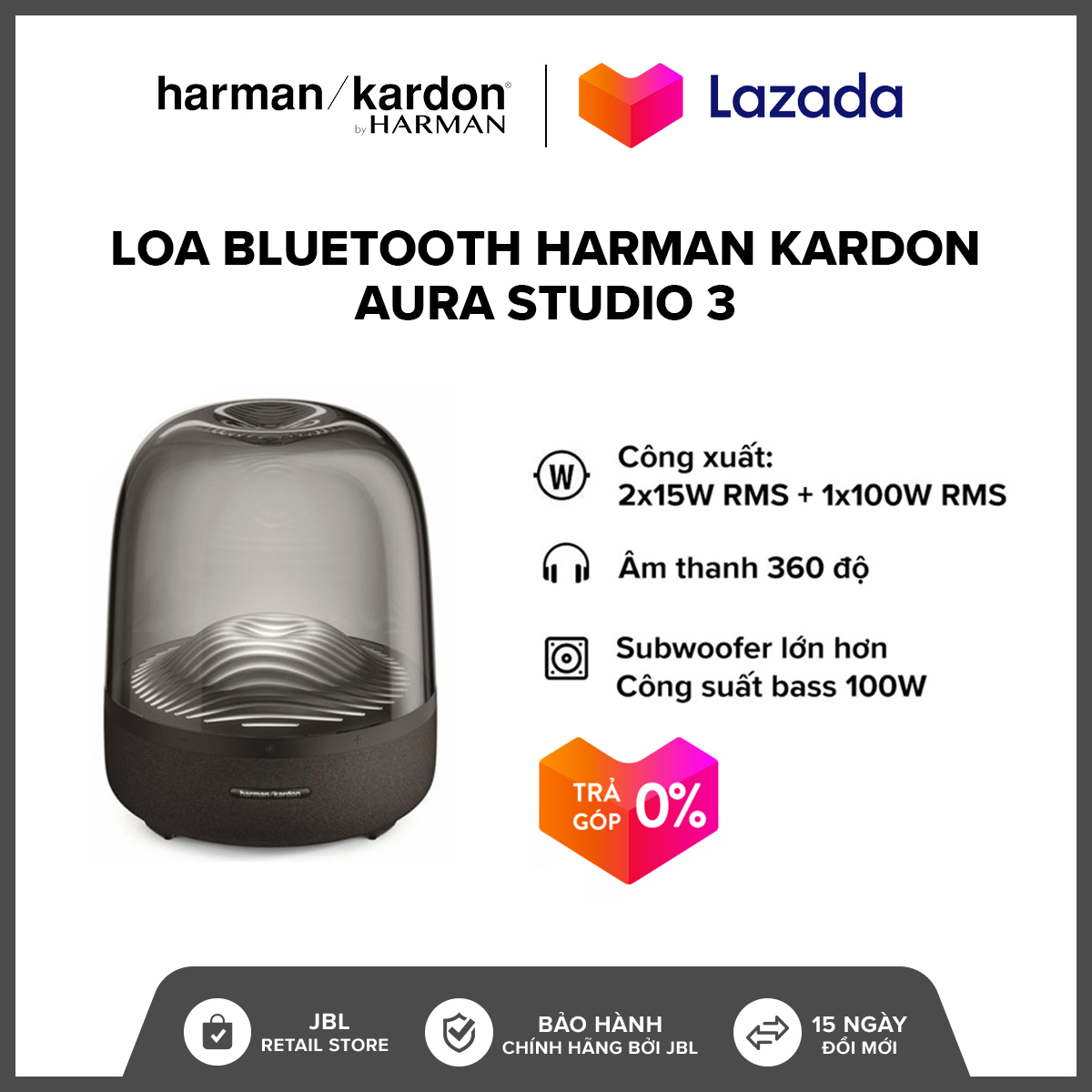 [TRẢ GÓP 0%] Loa Bluetooth Harman Kardon Aura Studio 3 l Công suất: 2 x 15W RMS + 1 x 100W RMS l 45Hz-20kHz l Bluetooth 4.2