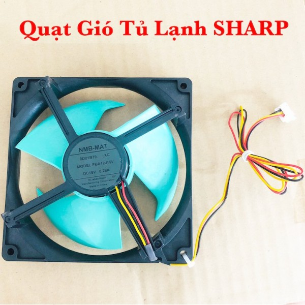 Quạt Gió tủ lạnh Sharp DC15V NMB-MAT KT12.5x12.5 - 3 cánh 4 dây