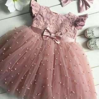 Váy Hoa Neveiox Cho Bé Gái, Váy Cưới, Váy Sinh Nhật, Váy Ren Dài Vải Tuyn