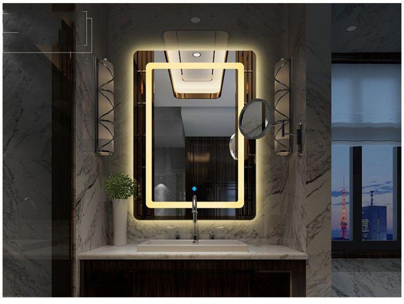 Gương đèn led phòng tắm SMHome D700x500 (Tích hợp đèn led và công tắc cảm ứng trên gương - Gương dọc 700mm X 500mm)