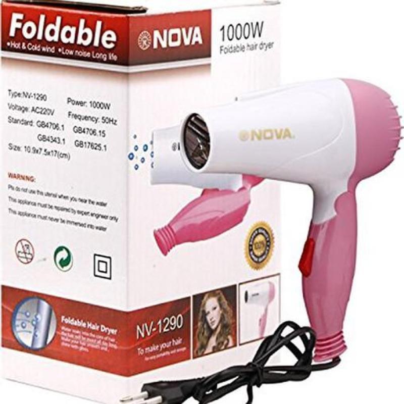 Máy sấy tóc mini gấp gọn, đa năng tiện dụng Nova 1000w cho người đi du lịch
