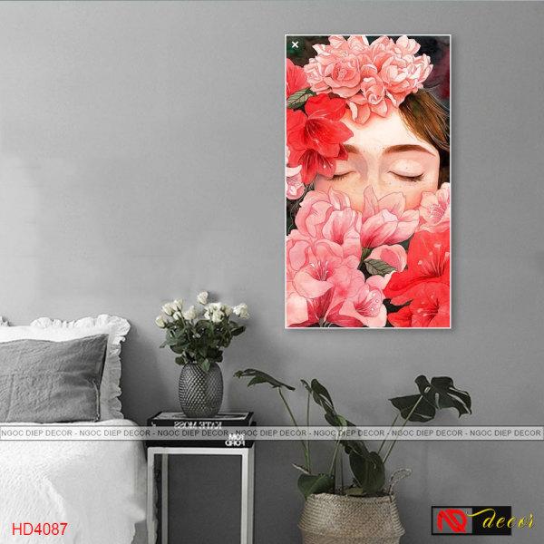 Tranh treo tường 3D nghệ thuật cô gái hoa hồng đỏ UD_45, tấm tranh đặc dày 1cm in sắc nét bo viền cao cấp, kèm đinh treo 3 chân
