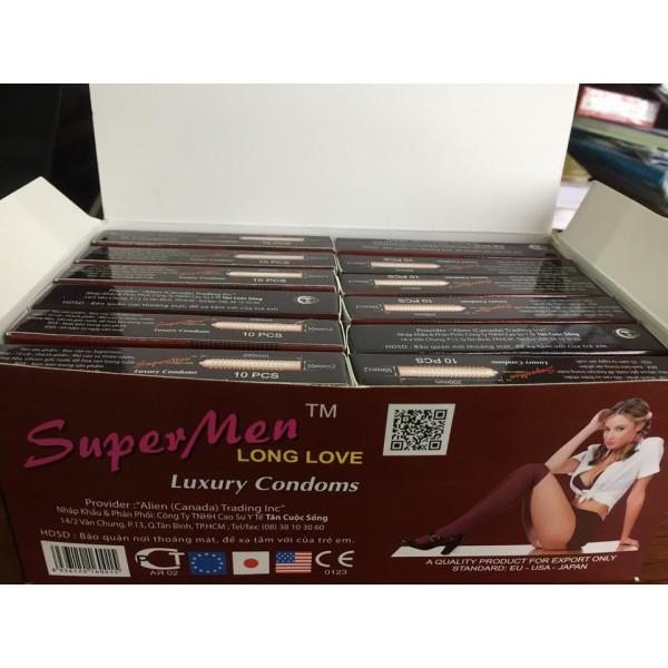 Bao cao su  ok Super Men chong xuất sớm , nhiều gel , nhiếu gai {hộp 144 cái}