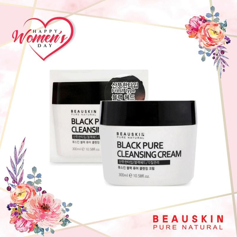 Kem tẩy trang loại bỏ bã nhờn và trắng da Beauskin Black Pure Cleansing Cream 300ml nhập khẩu