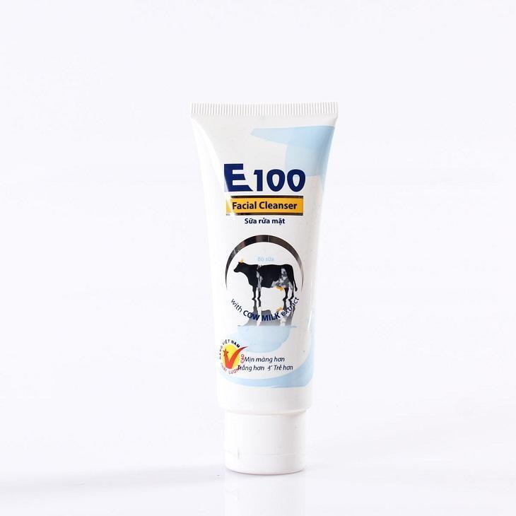 Sữa rửa mặt E100 Sữa bò tươi Dưỡng trắng