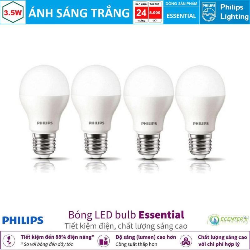 ( Bộ 4 ) Bóng LED Bulb Philips Essential 3.5W E27 ( Ánh sáng trắng )