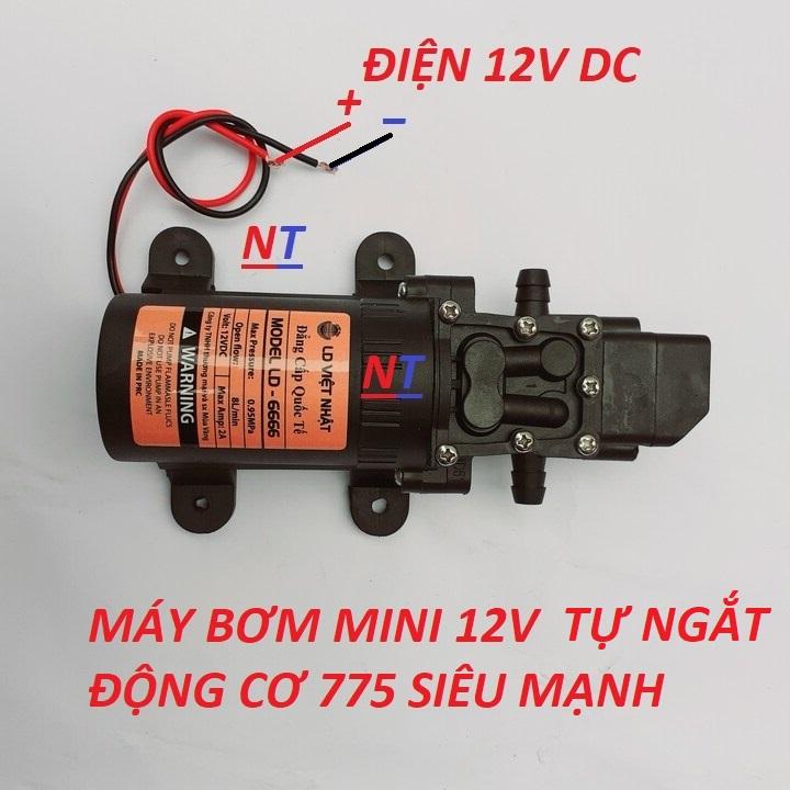 Máy bơm nước mini 12V áp lực cao Lưu lượng nước 8L phút Sử dụng làm bộ phun sương tưới cây bộ rửa xe mini