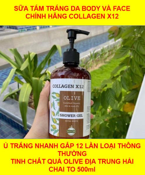 sữa tắm truyền trắng collagen x12 dành cho mặt và body chai 500ml siêu to - tuyển sỉ độc quyền
