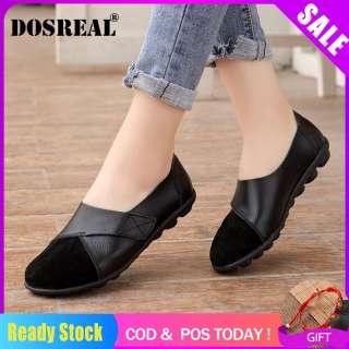 DOSREAL Giày Đế Bằng Cho Nữ Giày Đế Bằng Da Thật Giày Lười Hàn Quốc Giày Lười Nữ Giảm Giá Cỡ Lớn 35-44