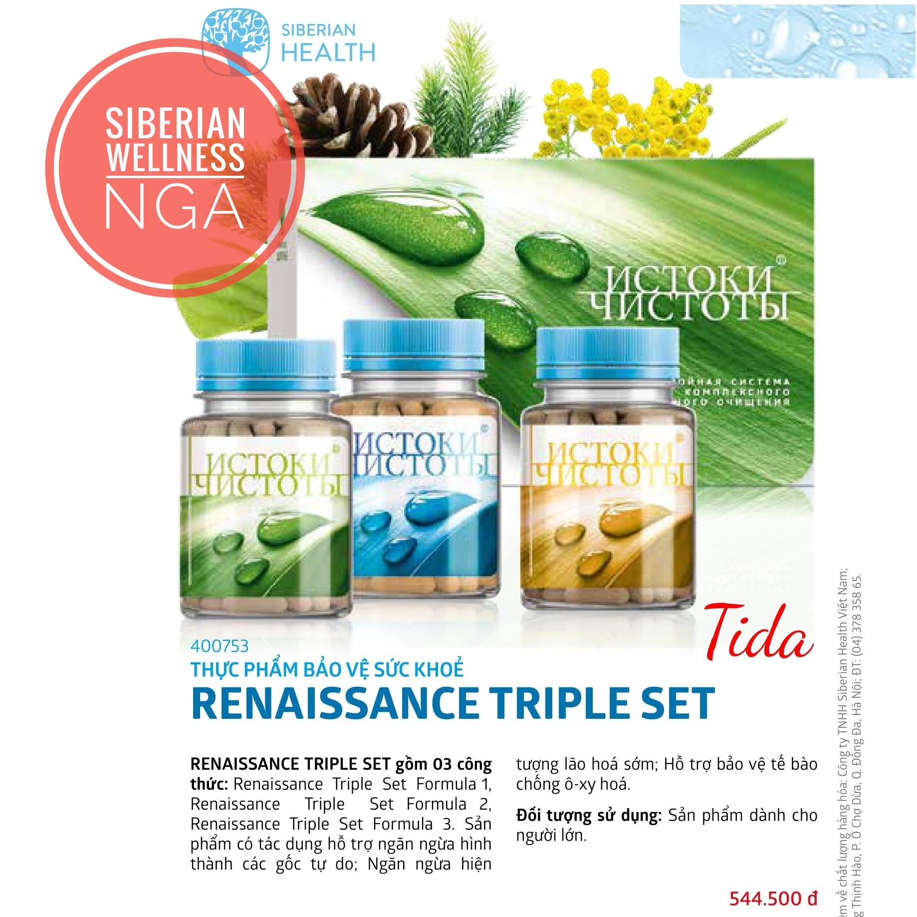 Renaissance Triple Set - Ngăn Ngừa Lão Hóa Sớm Từ Thảo Dược, Tăng Đề Kháng - Siberian Wellness - Xuất Xứ NGA cao cấp