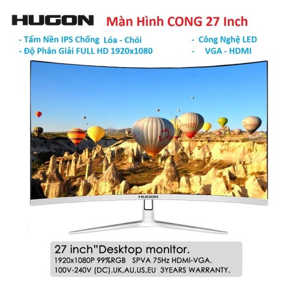 Bảng giá Màn Hình CONG 27inch QUÉT 75HZ TẤM NỀN IPS LED Full Viền Full HD 1920x1080 VGA - HDMI - HUGON Q27- NEW BOX Phong Vũ