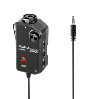 CoMica LinkFlex AD2 XLR /6.35mm-3.5mm Microphone Preamp Amplifier Audio Adapter Universal for Camera Smartphone Guitar Interface