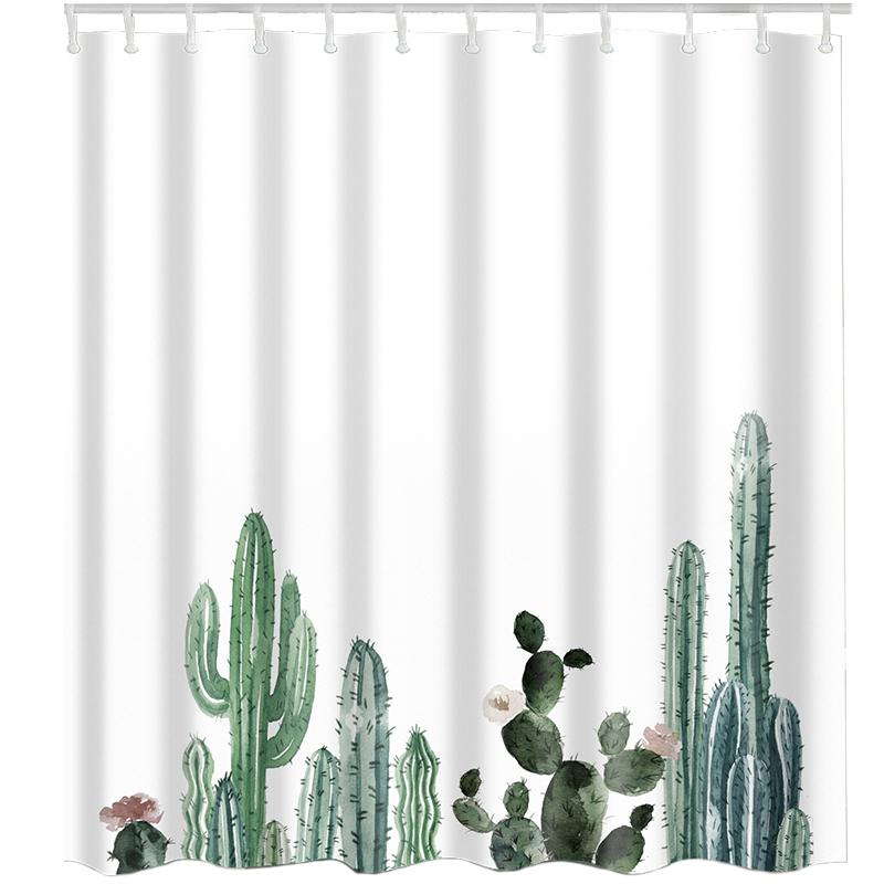 Tropical Cactus Shower Curtain Polyester Fabric Bath Curtain for The Bathroom Decorations Printed Shower Curtains