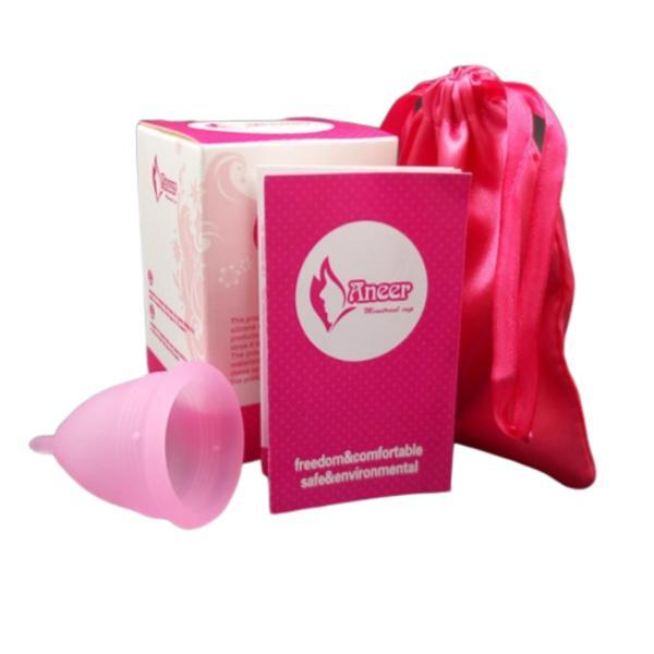 Cốc nguyệt san silicon y tế Aneer dùng thay thế băng vệ sinh, màu hồng, size S