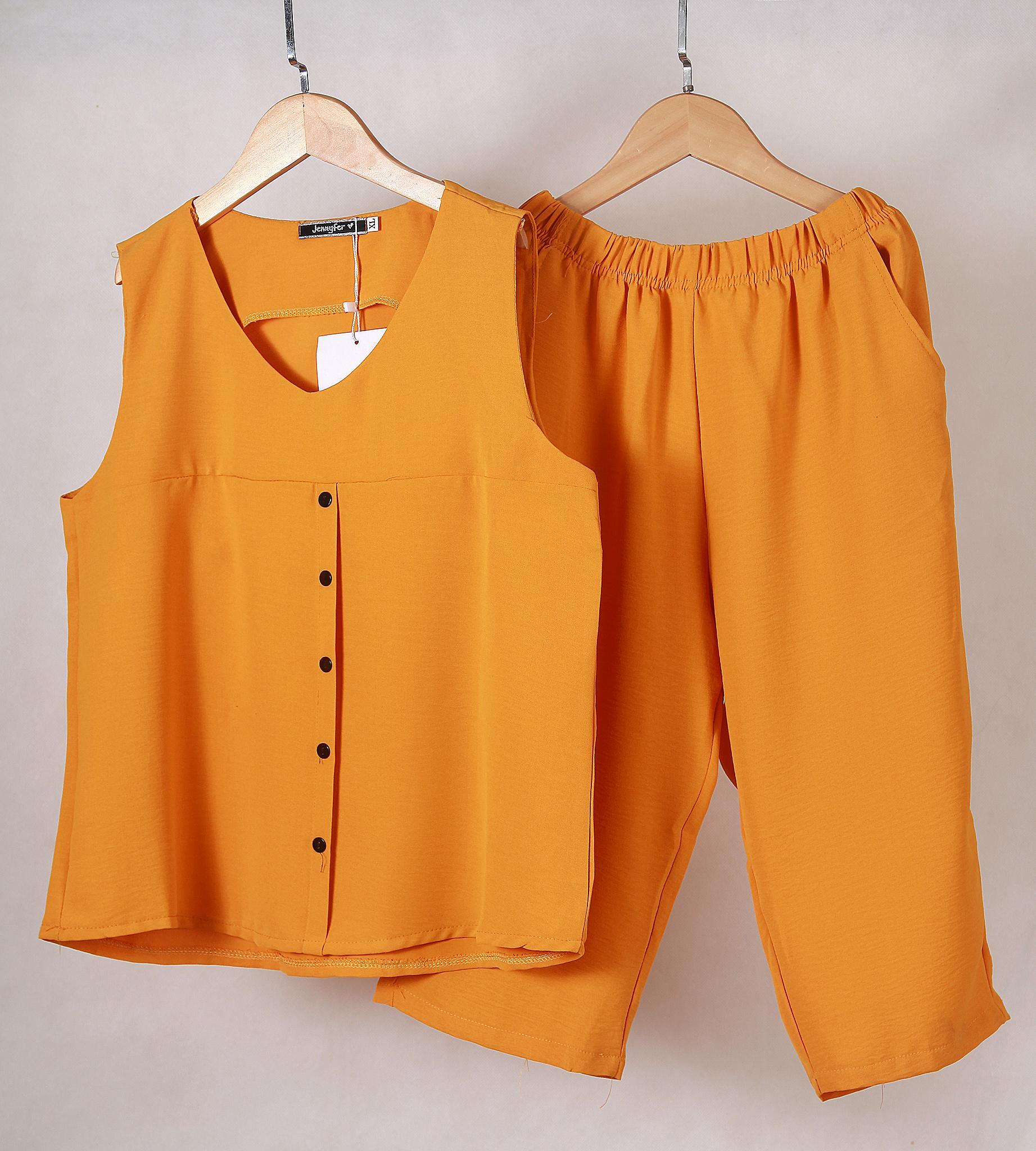 Đồ bộ nữ, Đồ bộ lửng mặc nhà SLOVE, chất liệu vải đũi nhẹ nhàng thoáng mát, 4 màu: Đen - cam đất - xanh ngọc - vàng Đa dụng. 5 size: M-L-XL-XXL-3XL