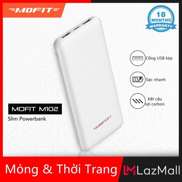 Giá [Siêu Sale][Hàng Quốc tế] Pin sạc nhanh dự phòng Mofit M102 10000mAh với đầu ra USB kép
