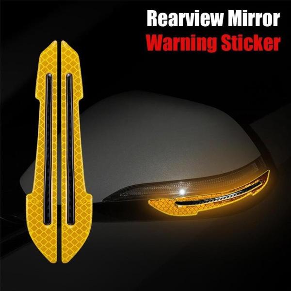 Bộ hai miếng dán phản quang chống va đập gương xe ô tô (vàng)