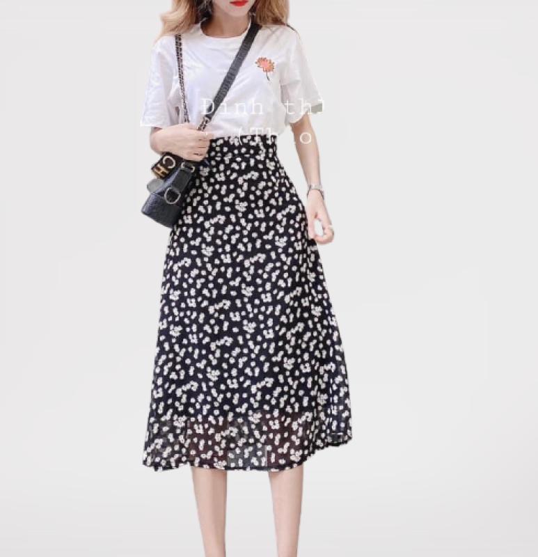 Chân váy hoa cúc - chân váy xòe dáng dài hot trend cạp chun chất voan lụa siêu siêu mát