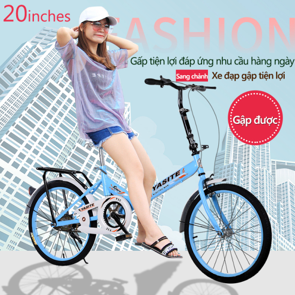 Phân phối Xe đạp 20 inch có thể gấp gọn 2 màu xanh lam xanh lá xe đạp cho thanh niển, người già (Giá sản phẩm đang bán không bao gồm phí lắp đặt) TopOne2020