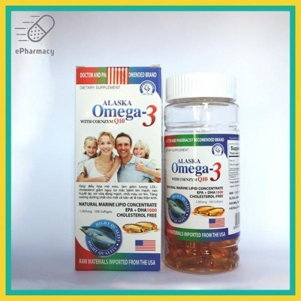 [Hàng chính hãng] combo 2 hộp Dầu cá Alaska omega 3 with coenzym Q10 hộp màu trắng gia đình - hộp 100 viên