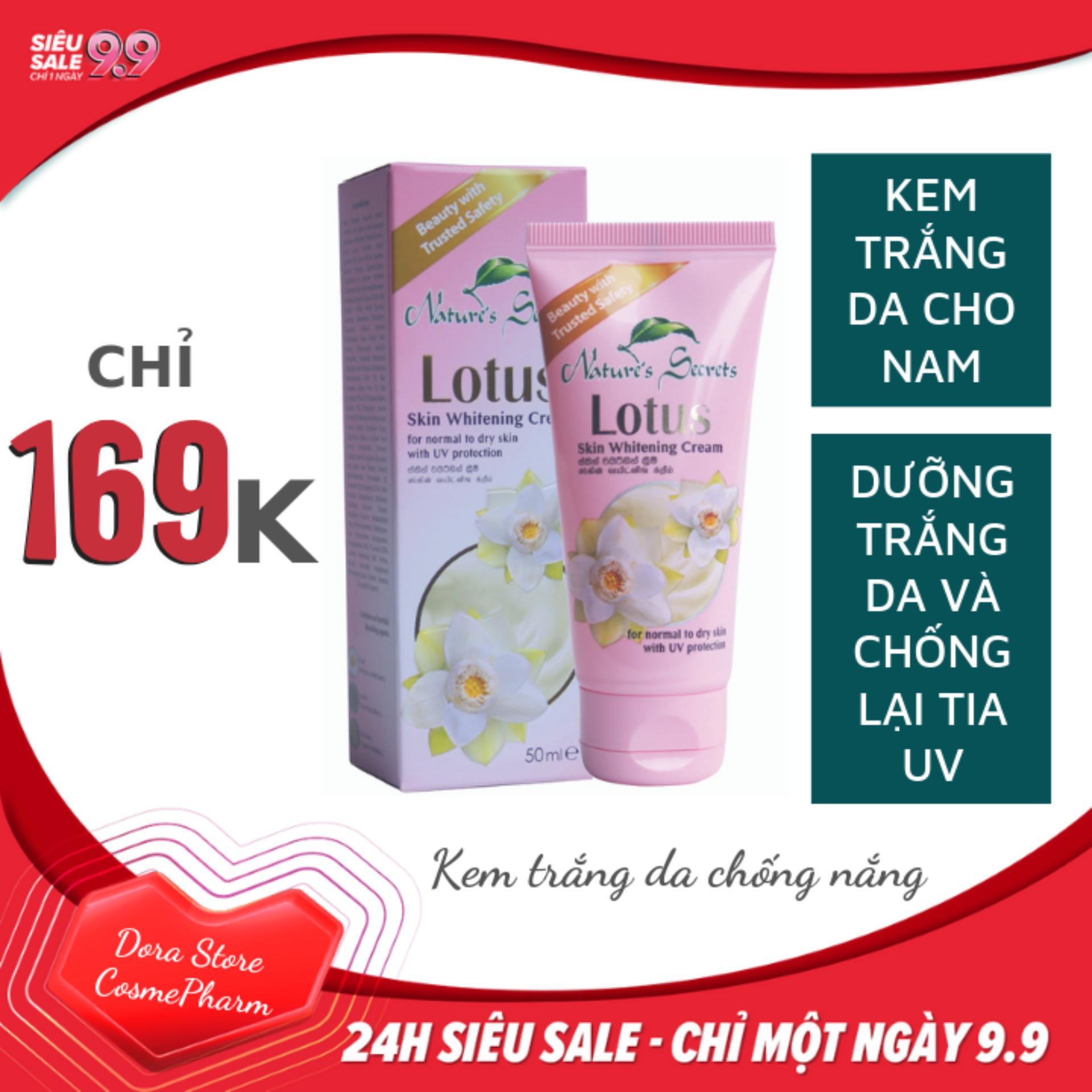 Kem trắng da chống nắng cho nam Lotus Whitening Cream 50ml tốt nhất