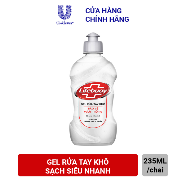 Gel rửa tay khô sạch siêu nhanh Lifebuoy Bảo Vệ Vượt Trội 10 (Chai nắp bạc 235ml) cao cấp