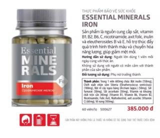 Thực phẩm bảo vệ sức khỏe Essential Minerals Iron thumbnail