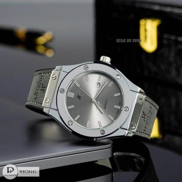 Đồng hồ nam Hublot mặt trơn dây da cao cấp fullbox da bảo hành 12 tháng, tặng vòng tì hưu bán chạy