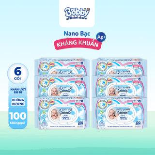 Bộ 6 gói khăn giấy ướt trẻ em Bobby Care Nano Bạc Kháng Khuẩn không mùi hương 100 miếng - Giới hạn 5 sản phẩm khách hàng thumbnail