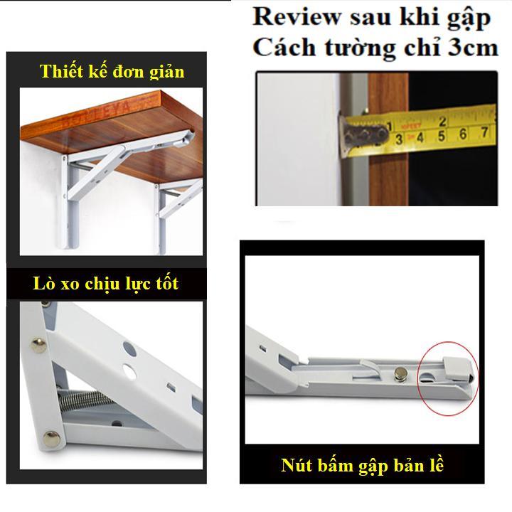 Bộ 2 bản lề gập - Chân bàn gấp treo tường thông minh 30cm tải trọng 40kg