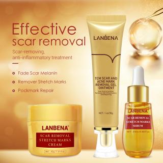 Bộ mỹ phẩm LANBENA gồm serum + gel kiềm dầu + kem trị sẹo mụn xóa tàn nhang làm trắng da - INTL thumbnail