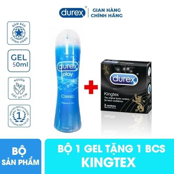 COMBO 1 Gel bôi trơn Durex Play Classic 50ml tặng 1 hộp bcs Durex Kingtex 3s size nhỏ 49mm giá rẻ