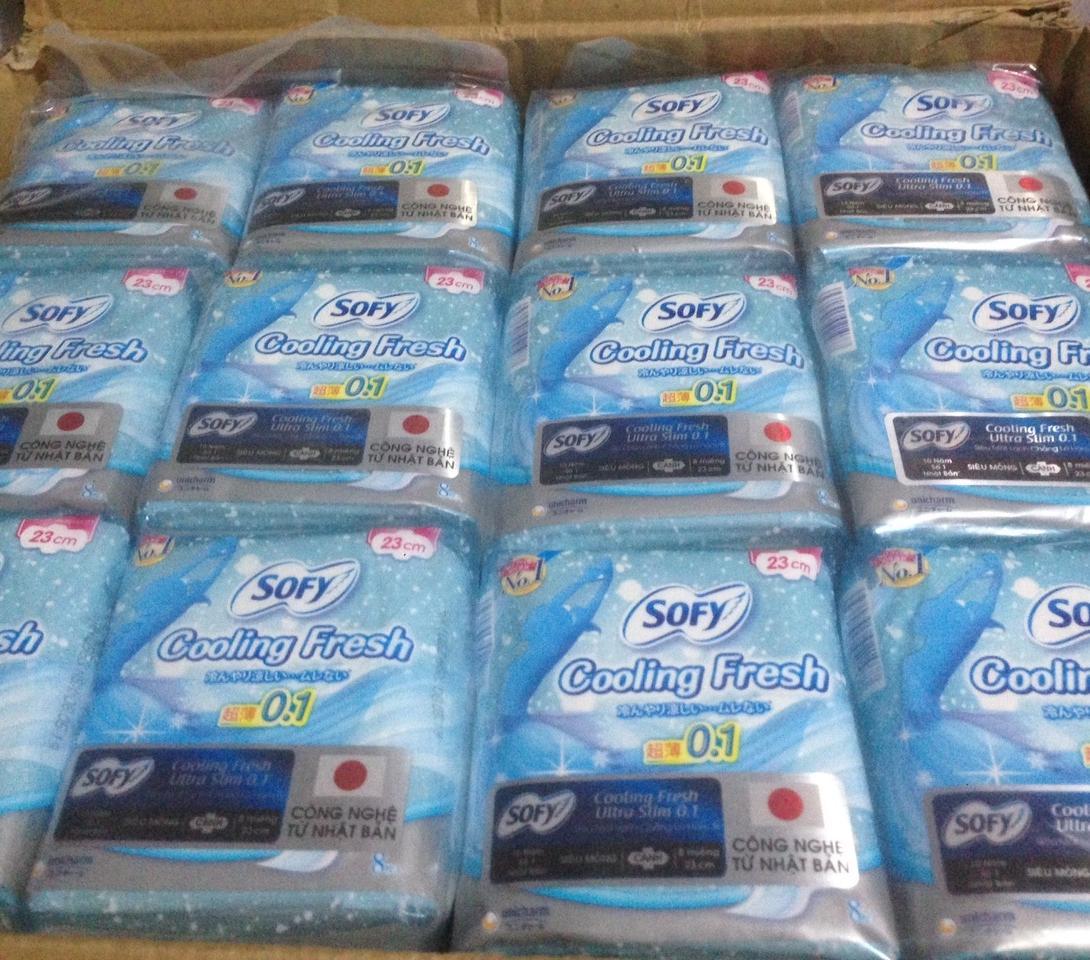 Combo 6 Gói Băng Vệ Sinh Sofy Cooling Fresh Ultra Slim 8 Miếng 23cm Siêu Mỏng Cánh nhập khẩu