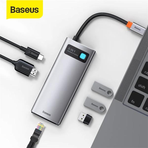 Bảng giá Bộ USB Hub type C Baseus Metal Gleam 6 in 1 100W, USB 3.0 *3 , HDMI *1 , PD*1, RJ45 cho laptop, và điện thoại Phong Vũ