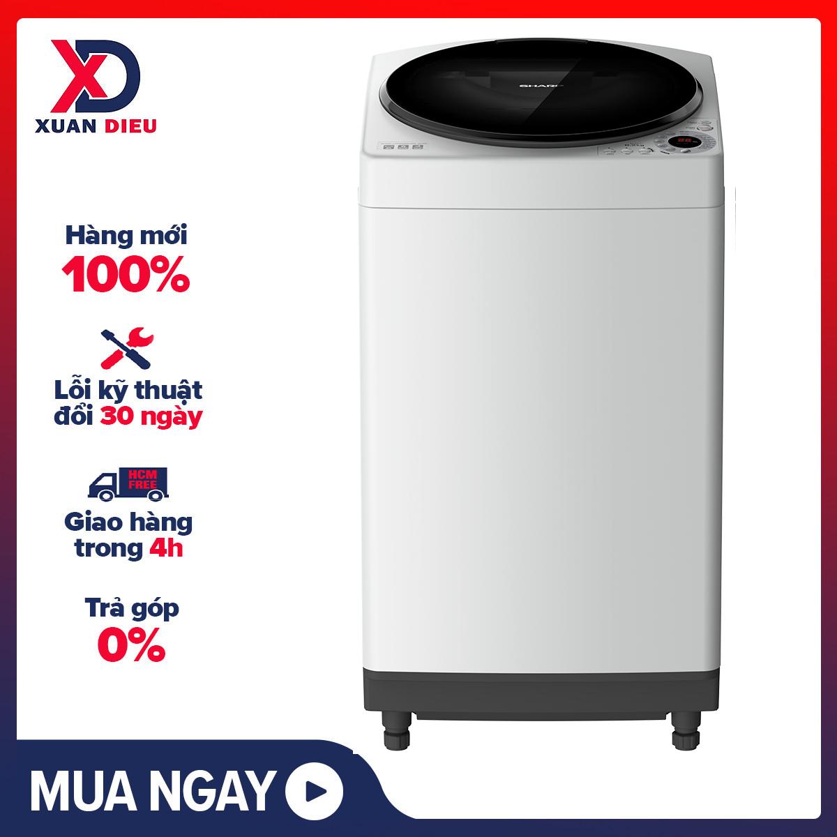 TRẢ GÓP 0% - Máy giặt Sharp 8Kg ES-W80GV-H - Loại máy giặt:Cửa trên - Truyền động:Bằng dây Curoa - Công nghệ giặt:Mâm giặt Dolphin Ag+, BẢO HÀNH 12 THÁNG