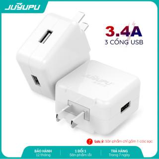 [HCM]Củ sạc nhanh JUYUPU Q31 3 cổng USB 3.4A cao cấp sạc điện thoại hính hãng thích hợp cho iPhone Samsung OPPO VIVO HUAWEI XIAOMI cục sạc thumbnail
