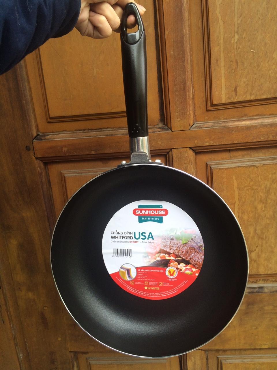 Chảo chống dính Sunhouse 26cm cho bếp ga, bếp hồng ngoại, bếp điện