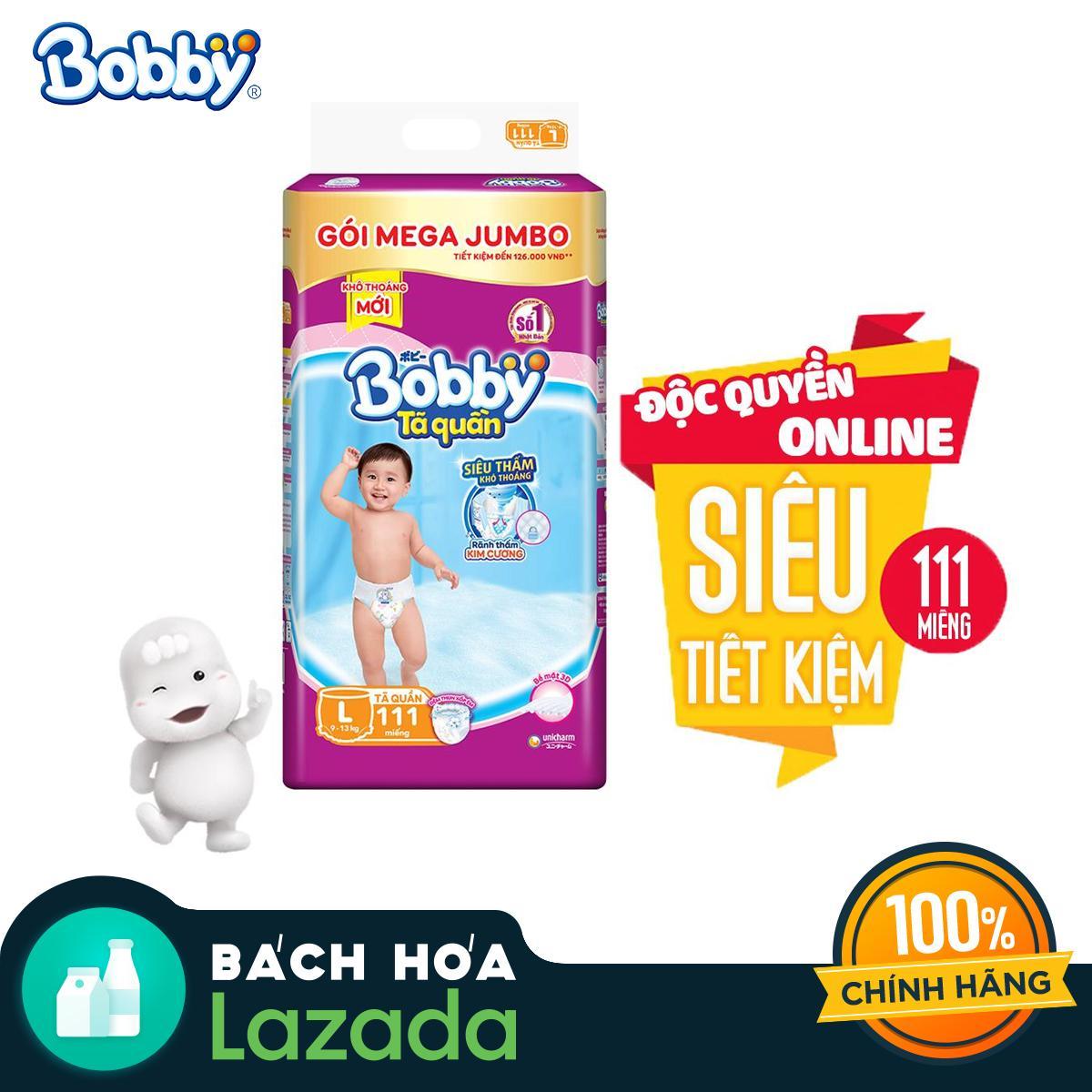 [Độc quyền Online] Tã/bỉm quần Bobby gói Mega Jumbo L111...