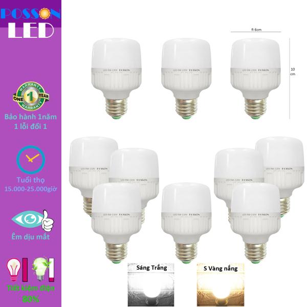 10 Bóng đèn Led bup trụ 9w 10w bulb kín chống nước tiết kiệm điện Posson LC-N9x