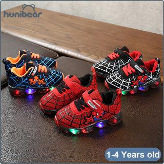 Giày Bé Trai, Spider Người Đàn Ông Sneakers Giày LED Phát Sáng Thoáng Khí Ánh Sáng Chập Chững Biết Đi Giày, 1-4 Năm