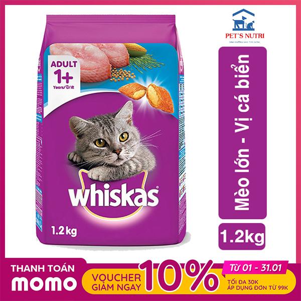 Thức ăn cho mèo lớn vị cá biển Whiskas Adult Ocean Fish 1,2kg