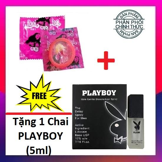 [Mua 1 Tặng 1] Bao cao su Feel 4in1 Chính Hãng (1Bcs) + Tặng 1 Chai xịt Playboy Chống xuất tinh sớm - Hãng phân phối chính thức