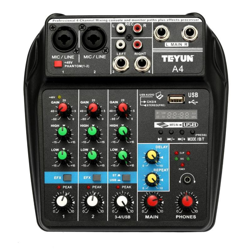 TU04 BT Sound Mixing Console Record 48V Phantom Power Monitor AUX Paths Plus Effects 4 Channels Audio Mixer with USB