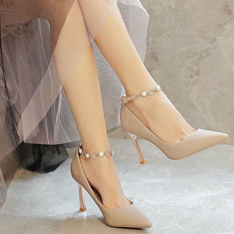(Bảo hành 12 tháng) Giày cao gót nữ kim tuyến trang trí vòng cổ chân xinh xắn - Giày nữ gót cao 8cm - Giày bít mũi da kim tuyến 2 màu Vàng và Bạc - Linus LN302 giá rẻ